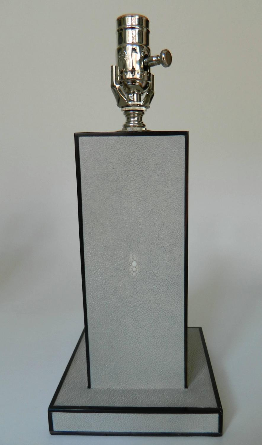 pair of light gray shagreen and wood inlay table lamps at 1stdibs. Black Bedroom Furniture Sets. Home Design Ideas