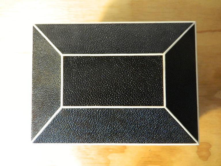 Modern Shagreen Bomb Box inspired by Karl Springer  For Sale