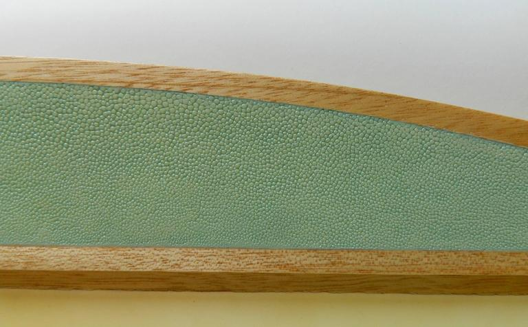 Unique desk blotter in light blue shagreen and natural parchment with felt backing  Galart specializes in boxes, humidors, trays, lamps and other high quality objects.  Please contact us for any other information.