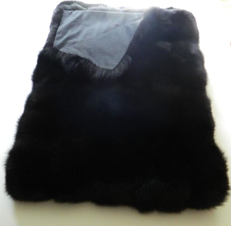 Beautiful black fox throw with Italian cashmere lining Custom colors and sizes are available