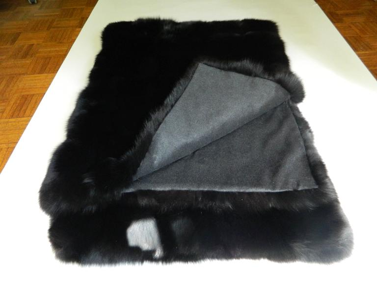 Modern Luxurious Black Fox Fur Throw with Italian Cashmere Lining For Sale