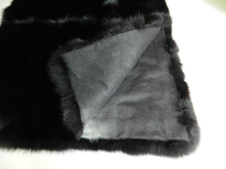 American Luxurious Black Fox Fur Throw with Italian Cashmere Lining For Sale