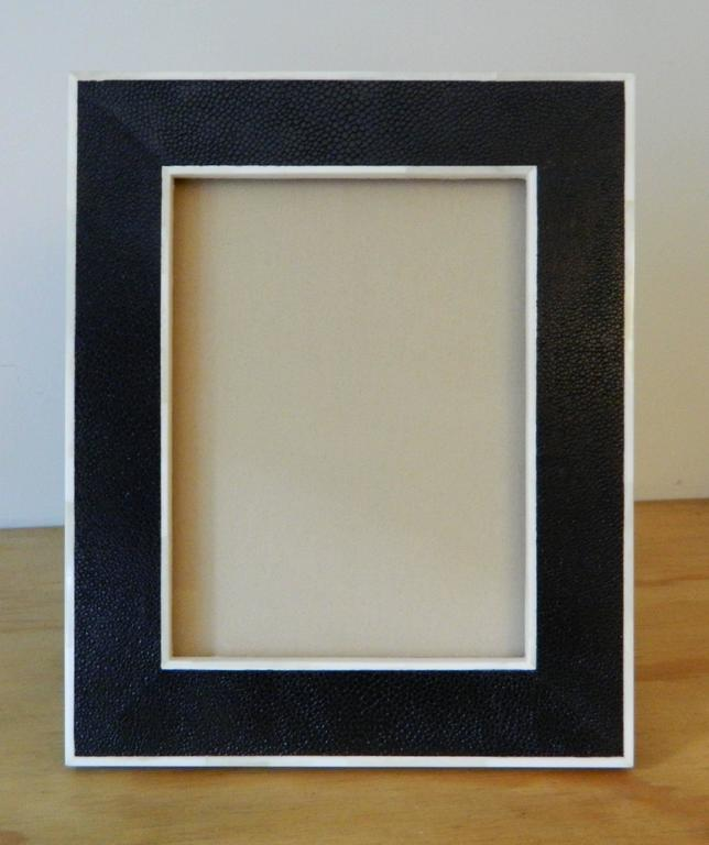Modern Shagreen Picture Frame with Bone Inlay For Sale