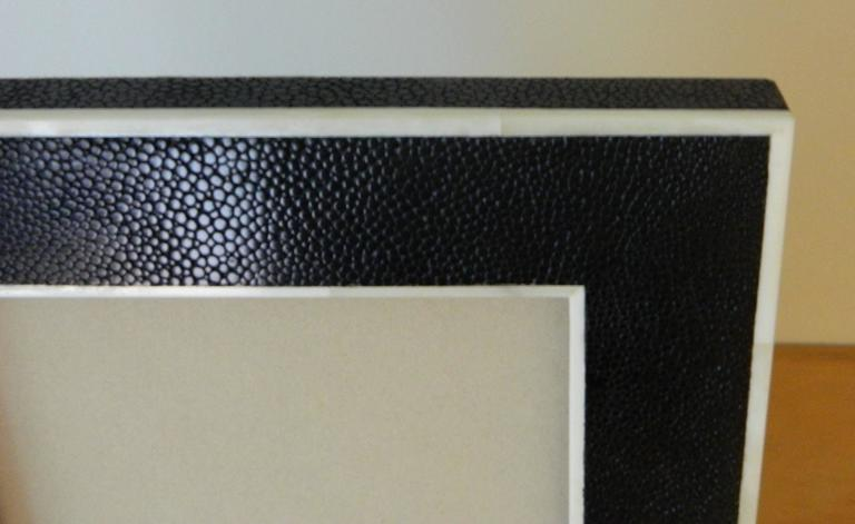 American Shagreen Picture Frame with Bone Inlay For Sale