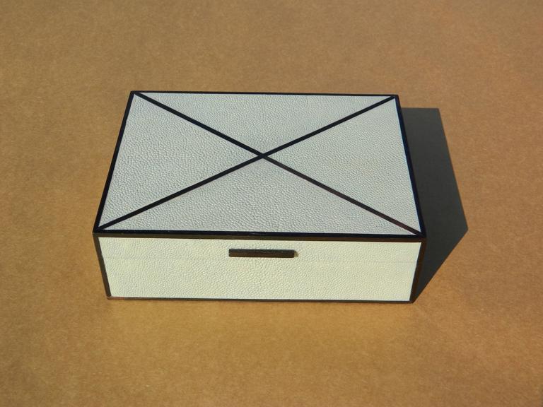 Beautiful sage shagreen box with ebony inlay Size: 10''W X 8'' D X 3.25'' H