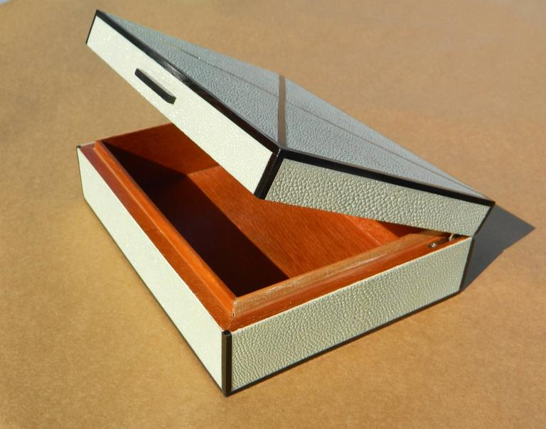 Modern Sage Shagreen And Ebony Inlay Box For Sale