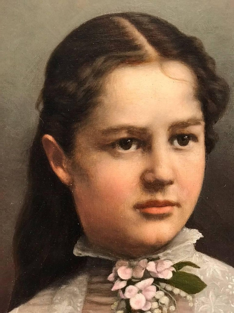 19th century portrait painting of a young lady , oil on canvas by I.Quiek, 1881.