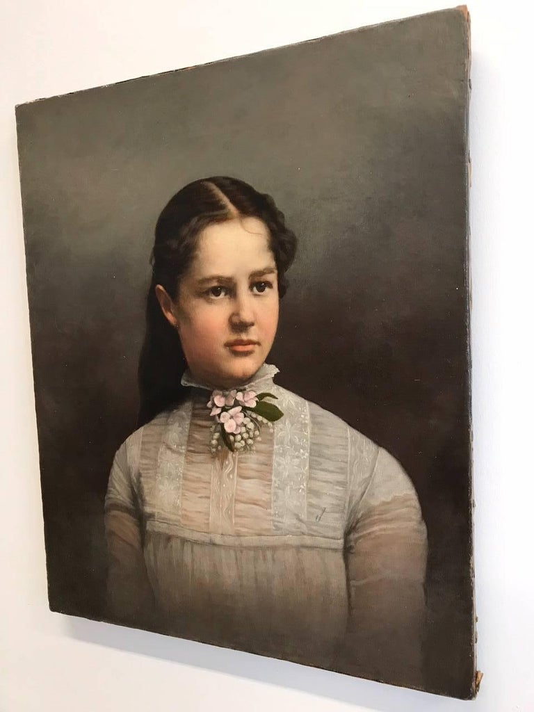 19th Century Young Lady Portrait , Oil on Canvas Painting In Excellent Condition In New York, NY