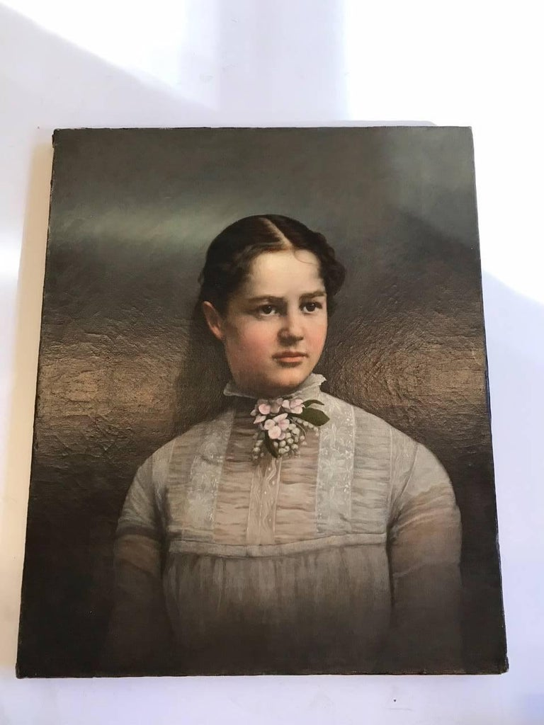 19th Century Young Lady Portrait , Oil on Canvas Painting 2