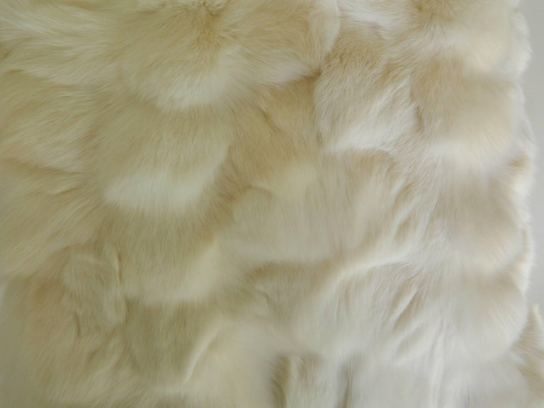 Pair of white fox pillow with Italian silk.
