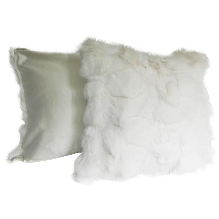 Modern Pair of White Fox and Silk Pillows For Sale