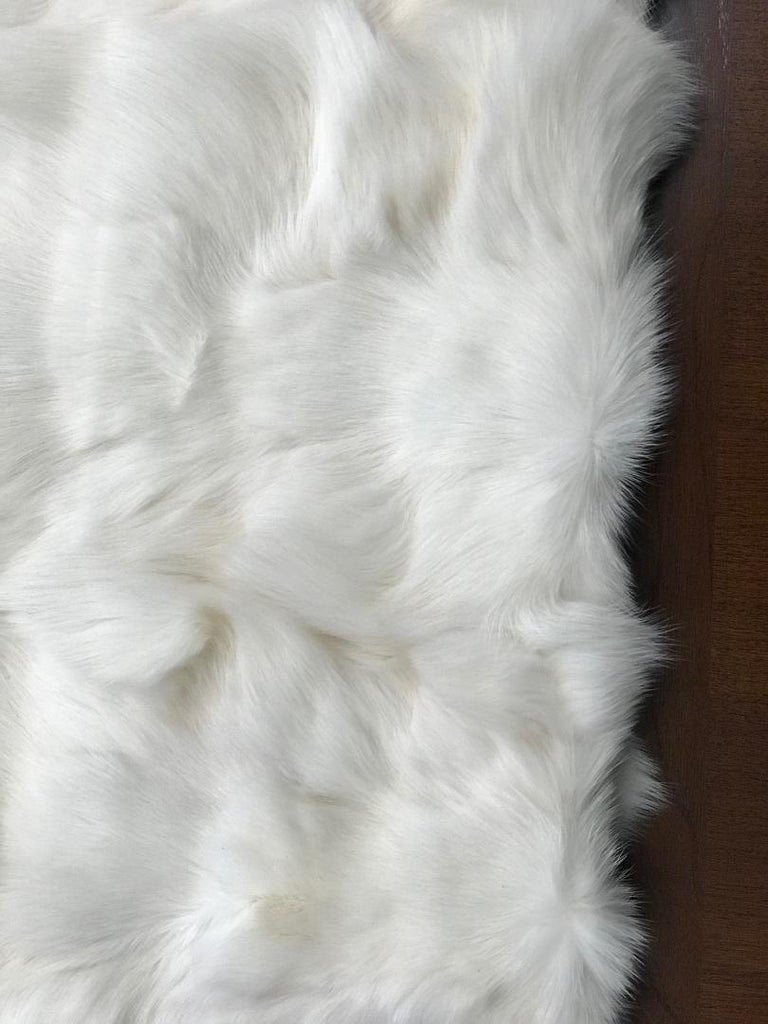 American Pair of White Fox and Silk Pillows For Sale