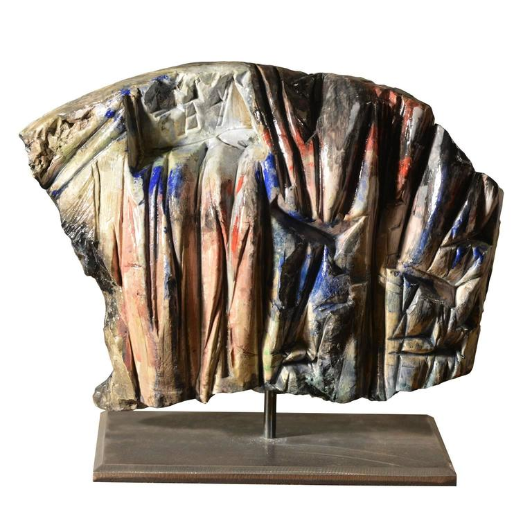 Polychromatic Abstract Ceramic Sculpture by Marcello Fantoni