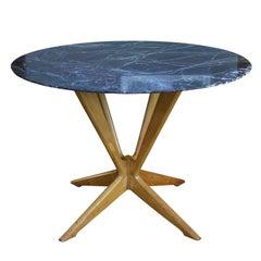 Italienischer Runder Tisch aus Rotem Marmor und Buchenholz, 1950er