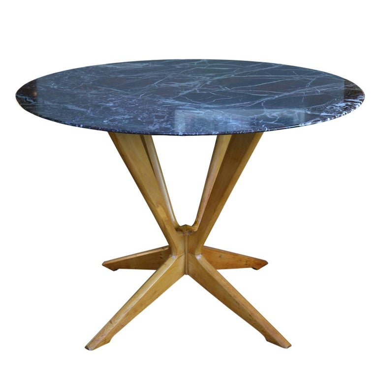Italian Round Table in Red Marble and Beech, 1950s