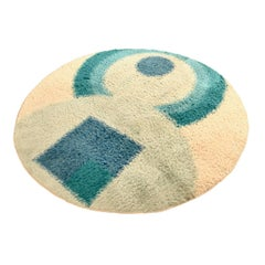 Modernist, High Pile Circular Wool Rug, Dutch Manufacturer, Late 1960s