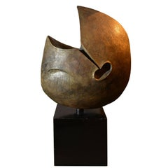 Marcello Fantoni, Circular Ceramic Sculpture with Bronze Patina, 1982