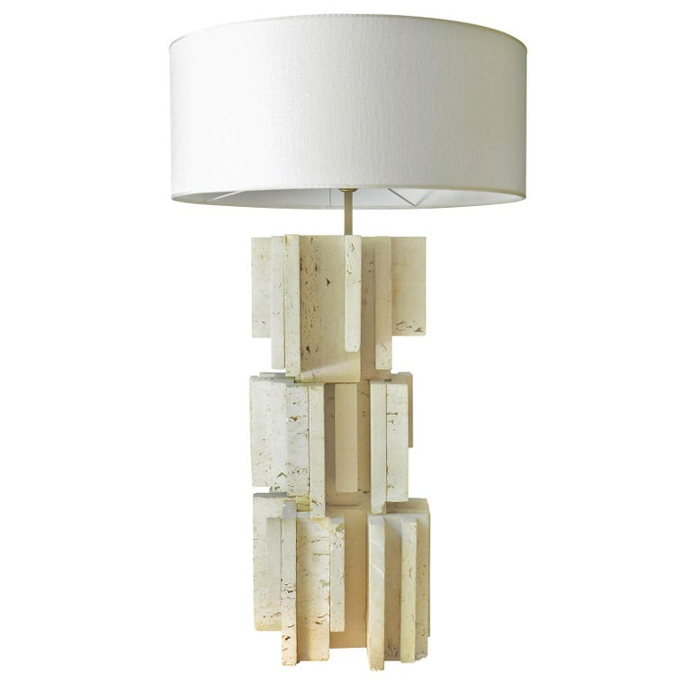 Sculptural Travertine Table Lamp 2, France, 1970s