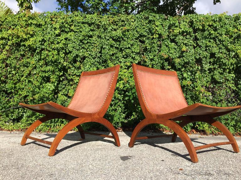 Beautiful Lounge Chairs with Saddle Leather Seats, USA, 1950s 2