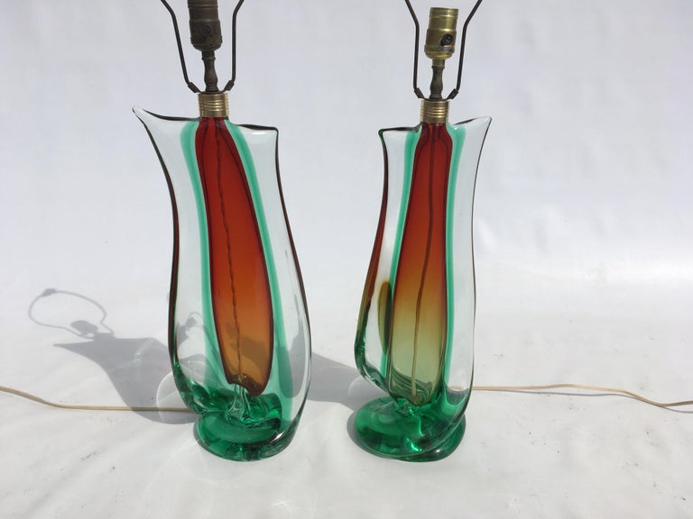 Brass Large Flavio Poli Table Lamps for Seguso Murano Glass, Italy For Sale