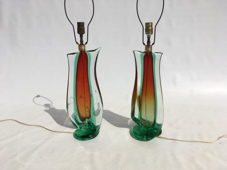 Large Flavio Poli Table Lamps for Seguso Murano Glass, Italy For Sale 13