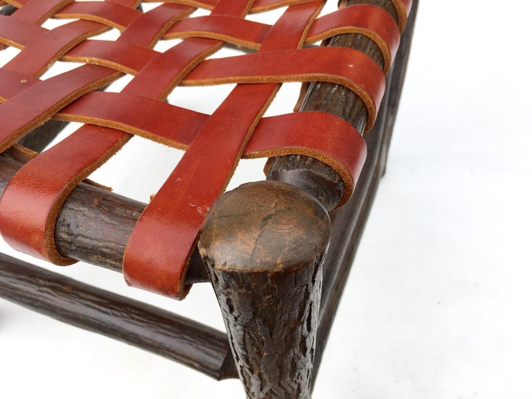 Twelve Old Hickory Dining Chairs with Woven Cognac Saddle Leather For Sale 3