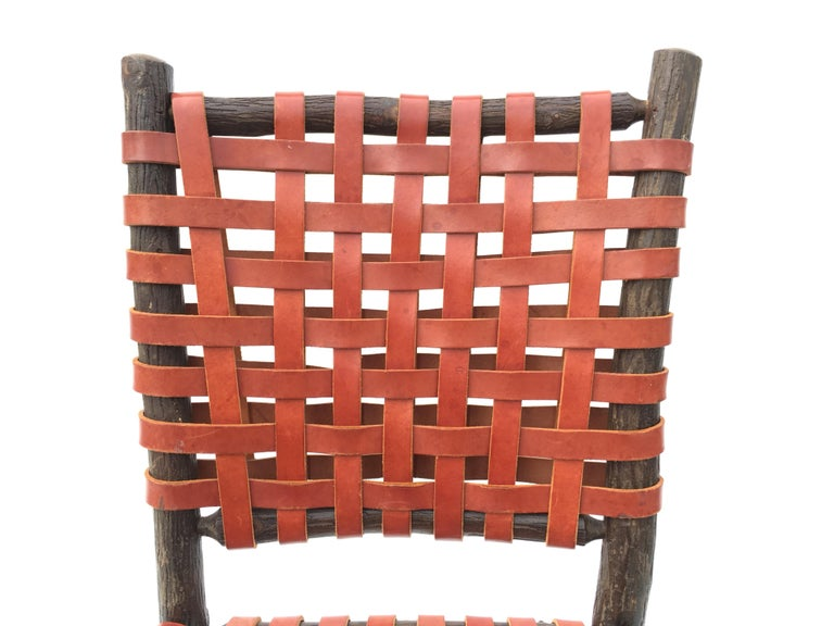 Twelve Old Hickory Dining Chairs with Woven Cognac Saddle Leather For Sale 5