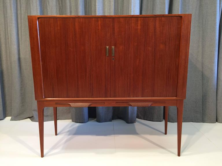 Fine Danish Teak Cabinet With Tambour Doors And Brass Pulls For Sale