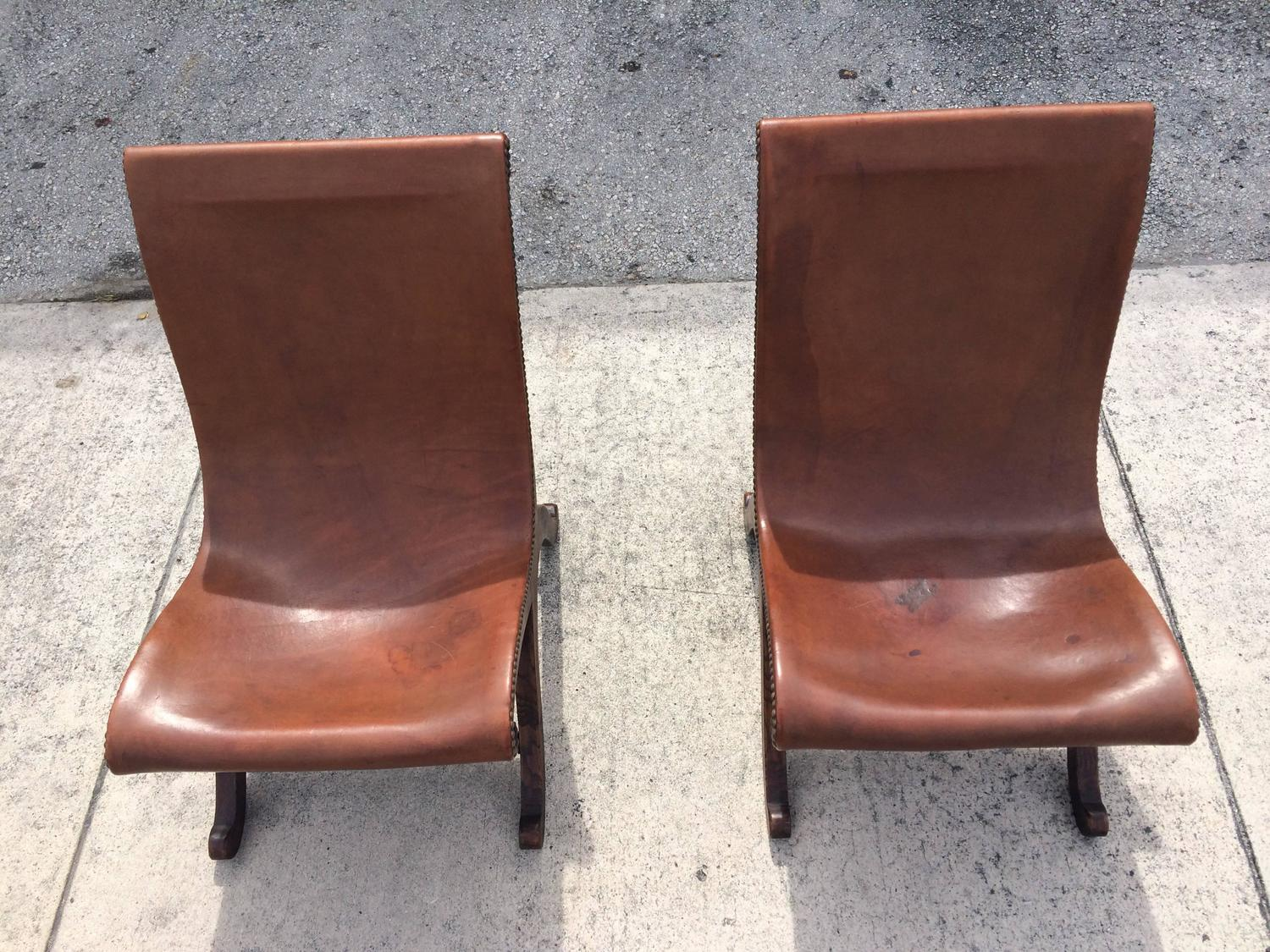 Two Great Leather Slipper Chairs Made by Valenti Spain