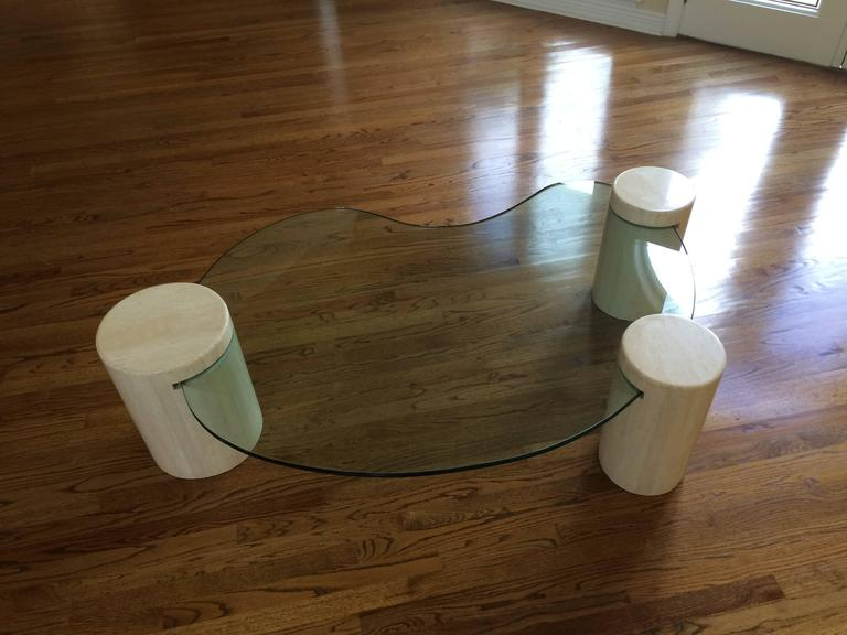 unique glass and marble coffee table by enzo gallo for sale at 1stdibs. Black Bedroom Furniture Sets. Home Design Ideas
