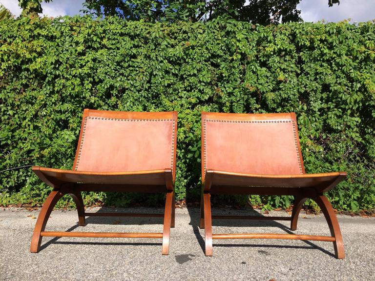 Beautiful Lounge Chairs with Saddle Leather Seats, USA, 1950s 4