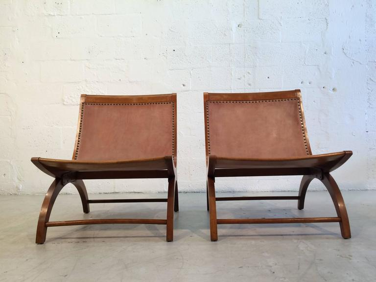 Beautiful Lounge Chairs with Saddle Leather Seats, USA, 1950s 5
