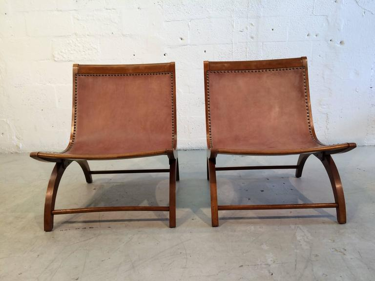 Beautiful Lounge Chairs with Saddle Leather Seats, USA, 1950s 6