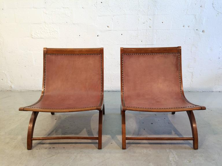 Beautiful Lounge Chairs with Saddle Leather Seats, USA, 1950s 7
