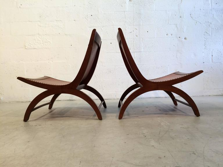 Beautiful Lounge Chairs with Saddle Leather Seats, USA, 1950s 8