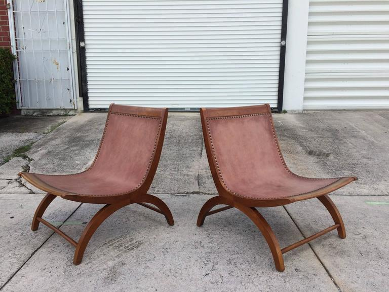 Beautiful Lounge Chairs with Saddle Leather Seats, USA, 1950s 9