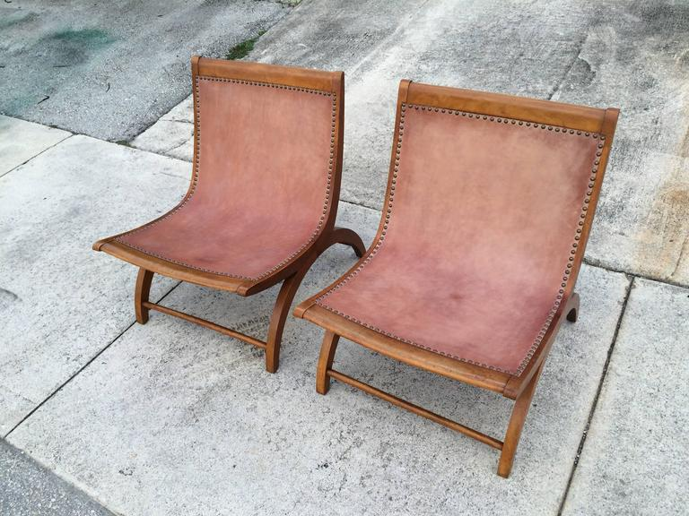 Beautiful Lounge Chairs with Saddle Leather Seats, USA, 1950s 10
