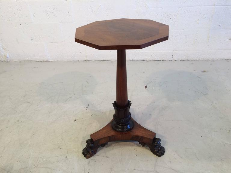 Beautiful Antique Three Legged Side Table Rosewood Claw Feet For 4