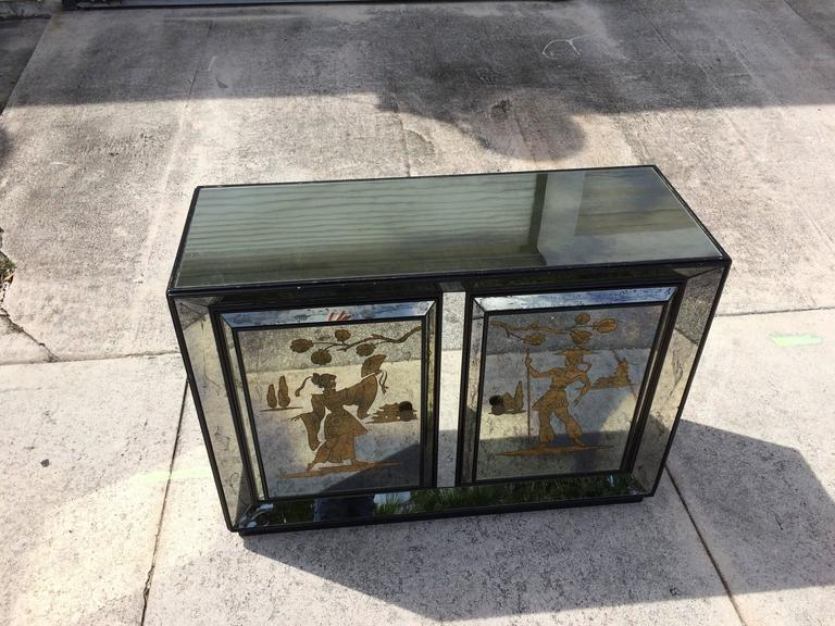 Very Unusual Mirrored Cabinet with Golden Asian Decor, USA, 1940s For Sale at 1stdibs