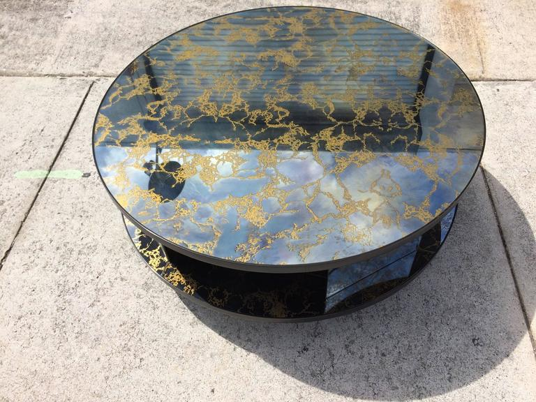 Rotating Two Tiered Mirrored Coffee Table Gold Vein Usa