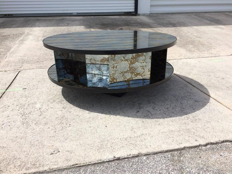 Rotating Two Tiered Mirrored Coffee Table Gold Vein Usa 1940s At 1stdibs