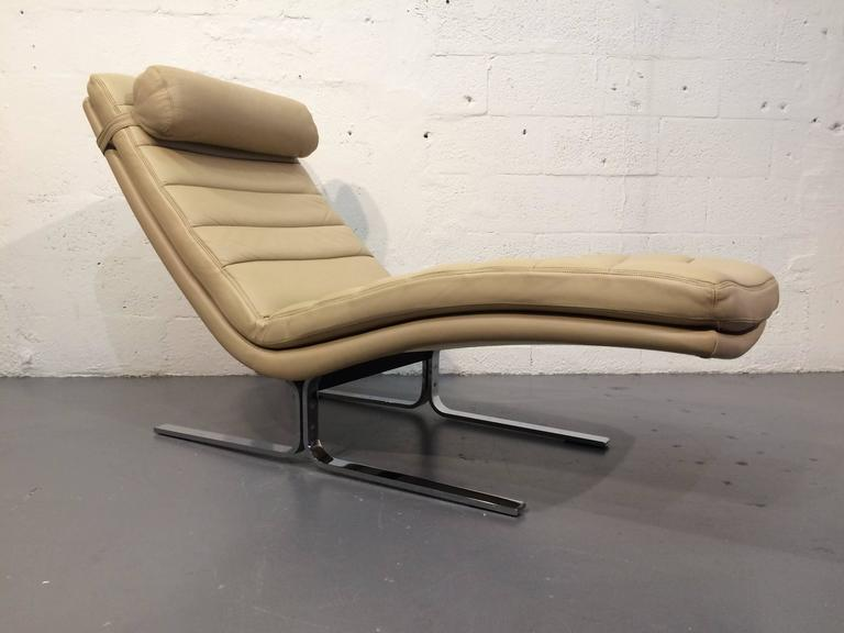 Mid-Century Modern Leather Chaise Longue by Harvey Probber, USA, 1970s For Sale