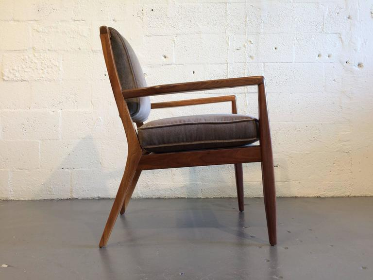 Fabric Pair of Modern Walnut Armchairs, USA, 1950s For Sale