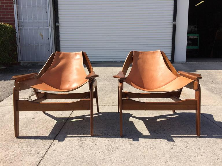 Pair Of Walnut And Saddle Leather Lounge Chairs By Jerry
