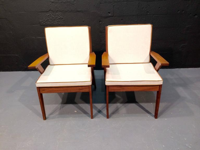 Leather Pair of Great Armchairs, in the Style of Pierre Jeanneret, 1950s For Sale