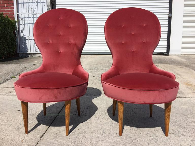 Fabric Petite Scandinavian Lounge Chairs, 1950s For Sale