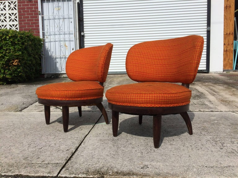 Pair of Mid-Century Modern Lounge Chairs In Good Condition For Sale In Opa Locka, FL