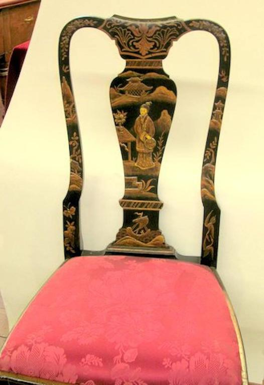 Superb Antique English Chinoiserie Lacquer Beech Queen Anne Style Side Chair.  Please Note The Extraordinary
