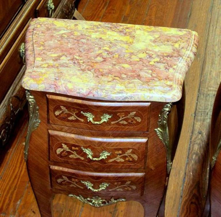 Pair Of French Marble Top Marquetry Inlaid Kingwood Three Drawer Bedside  Tables 2