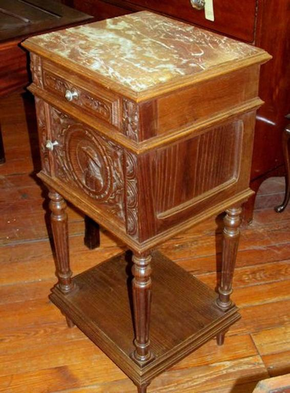 Old french hand carved oak breton style marble top pot